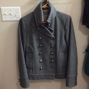 Gray Pea Coat with Funnel Collar